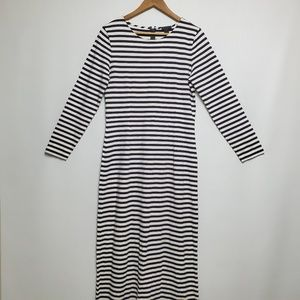 J. Crew Maxi Dress Black Stripes Size 8